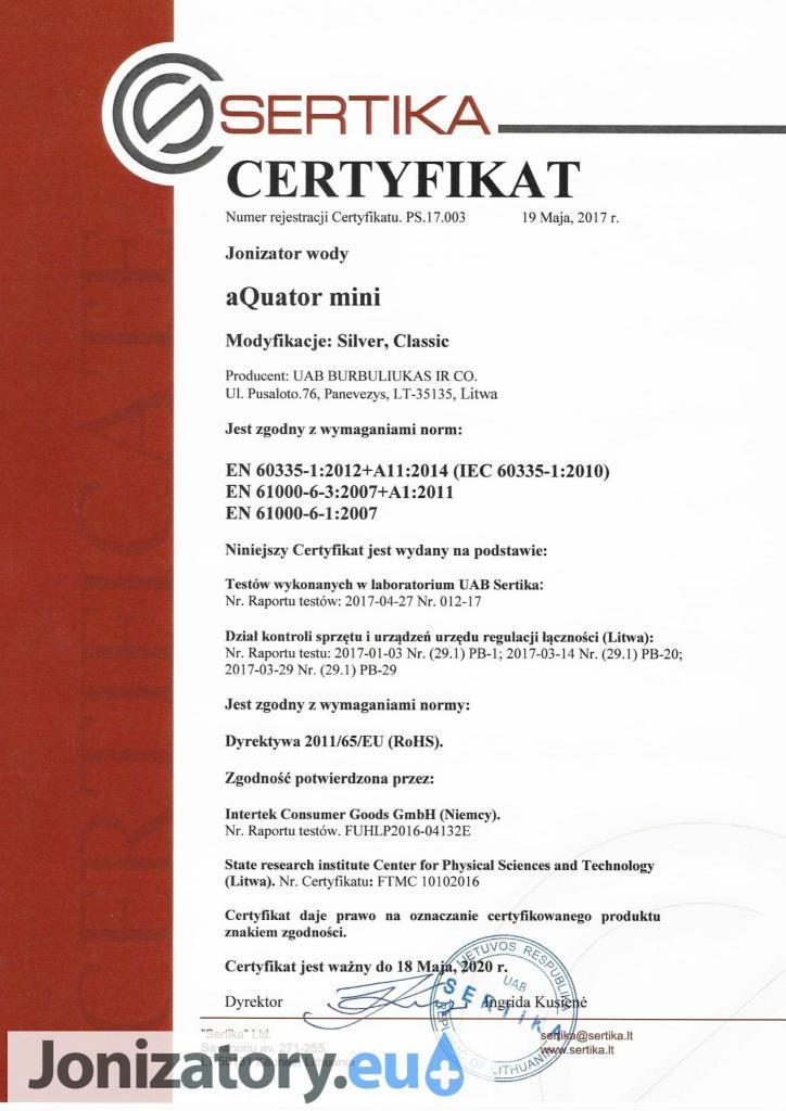 JONI_aquator_mini_1,5l_certyfikat_sertica