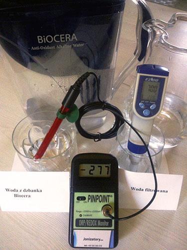 Poziom ORP wody z dzbanka Biocera -277 mV